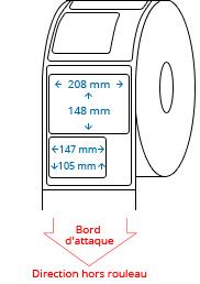 210 mm x 297 mm / 208 mm x 148 mm / 147 mm x 105 mm Étiquettes à rouleaux