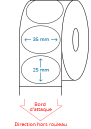 35 mm x 25 mm Étiquettes à rouleaux