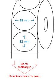 38 mm x 32 mm Étiquettes à rouleaux