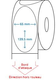 65 mm x 139.5 mm Étiquettes à rouleaux