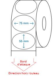 75 mm x 55 mm Étiquettes à rouleaux