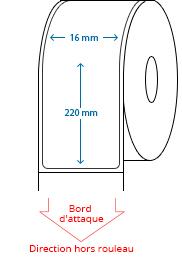 16 mm x 220 mm Étiquettes à rouleaux