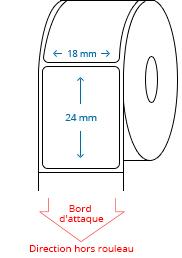 18 mm x 24 mm Étiquettes à rouleaux