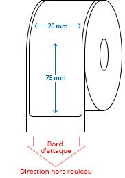 20 mm x 75 mm Étiquettes à rouleaux