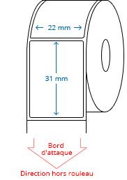 22 mm x 31 mm Étiquettes à rouleaux