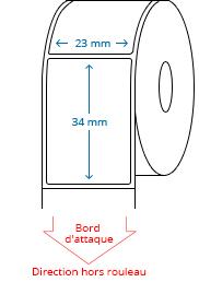 23 mm x 34 mm Étiquettes à rouleaux