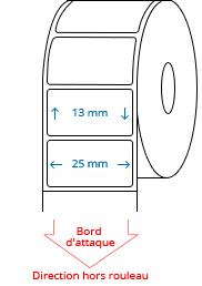 25 mm x 13 mm Étiquettes à rouleaux