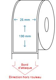 25 mm x 130 mm Étiquettes à rouleaux