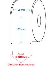 25 mm x 135 mm Étiquettes à rouleaux