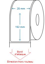 25 mm x 152 mm Étiquettes à rouleaux