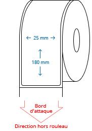 25 mm x 180 mm Étiquettes à rouleaux