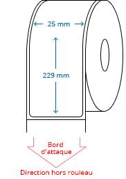25 mm x 229 mm Étiquettes à rouleaux