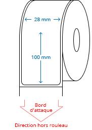 28 mm x 100 mm Étiquettes à rouleaux