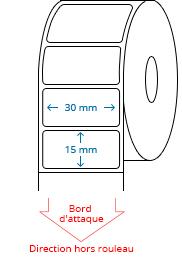 30 mm x 15 mm Étiquettes à rouleaux