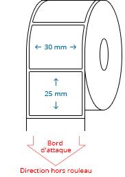 30 mm x 25 mm Étiquettes à rouleaux