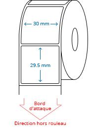 30 mm x 29.5 mm Étiquettes à rouleaux