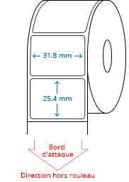 31.8 mm x 25.4 mm Étiquettes à rouleaux