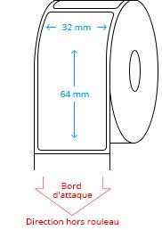 32 mm x 64 mm Étiquettes à rouleaux