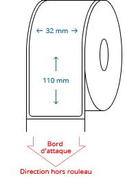 32 mm x 110 mm Étiquettes à rouleaux