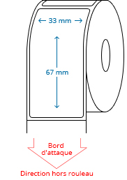 33 mm x 67 mm Étiquettes à rouleaux