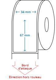 34 mm x 67 mm Étiquettes à rouleaux