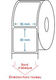 35 mm x 30 mm Étiquettes à rouleaux