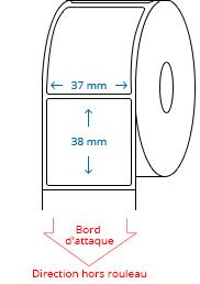 37 mm x 38 mm Étiquettes à rouleaux