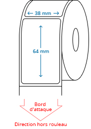38 mm x 64 mm Étiquettes à rouleaux