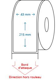 43 mm x 215 mm Étiquettes à rouleaux