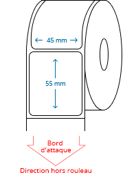 45 mm x 55 mm Étiquettes à rouleaux