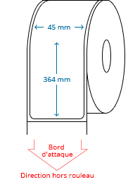 45 mm x 364 mm Étiquettes à rouleaux