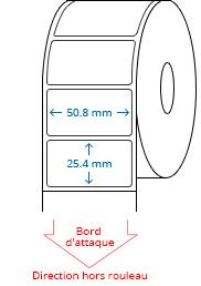 50.8 mm x 25.4 mm Étiquettes à rouleaux
