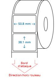 50.8 mm X 38.1 mm Étiquettes à rouleaux