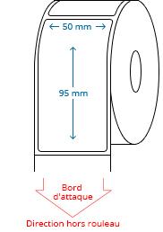 50 mm x 95 mm Étiquettes à rouleaux