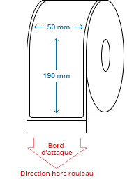 50 mm x 190 mm Étiquettes à rouleaux