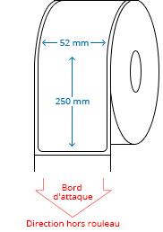 52 mm x 250 mm Étiquettes à rouleaux
