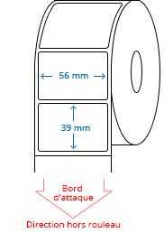 56 mm X 39 mm Étiquettes à rouleaux
