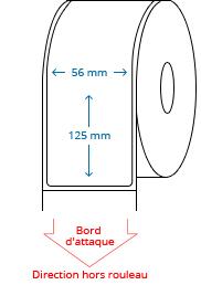 56 mm x 125 mm Étiquettes à rouleaux