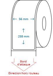 56 mm x 258 mm Étiquettes à rouleaux