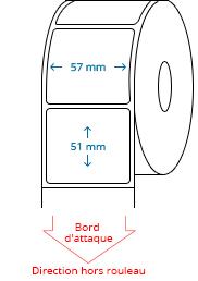 57 mm X 51 mm Étiquettes à rouleaux