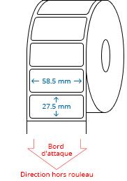 58.5 mm x 27.5 mm Étiquettes à rouleaux
