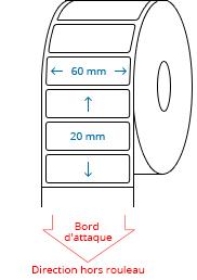 60 mm x 20 mm Étiquettes à rouleaux