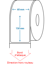 60 mm x 130 mm Étiquettes à rouleaux