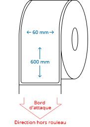 60 mm x 600 mm Étiquettes à rouleaux