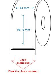 61 mm x 101.6 mm Étiquettes à rouleaux