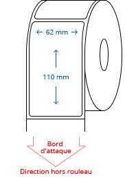 62 mm x 110 mm Étiquettes à rouleaux