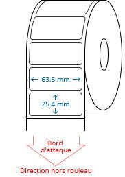 63.5 mm x 25.4 mm Étiquettes à rouleaux