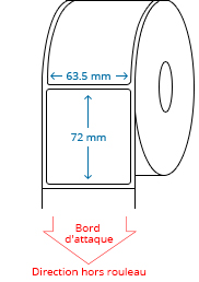 63.5 mm x 72 mm Étiquettes à rouleaux