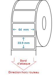64 mm x 33.9 mm Étiquettes à rouleaux