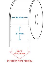 64 mm x 51 mm Étiquettes à rouleaux